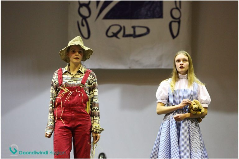 2 girls on stage in costume